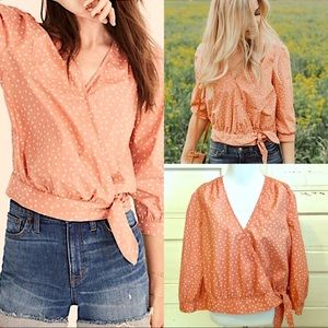Madewell Apricot Star Wrap Crop Top